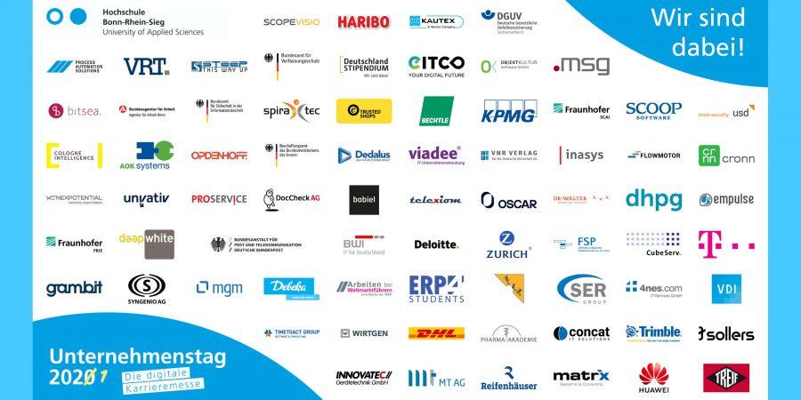 Die Logo Wand stellt alle Logos der Unternehmen dar, die im Januar 2021 beim digitalen Unternehmenstag dabei waren. 74 Logos sind es insgesamt.