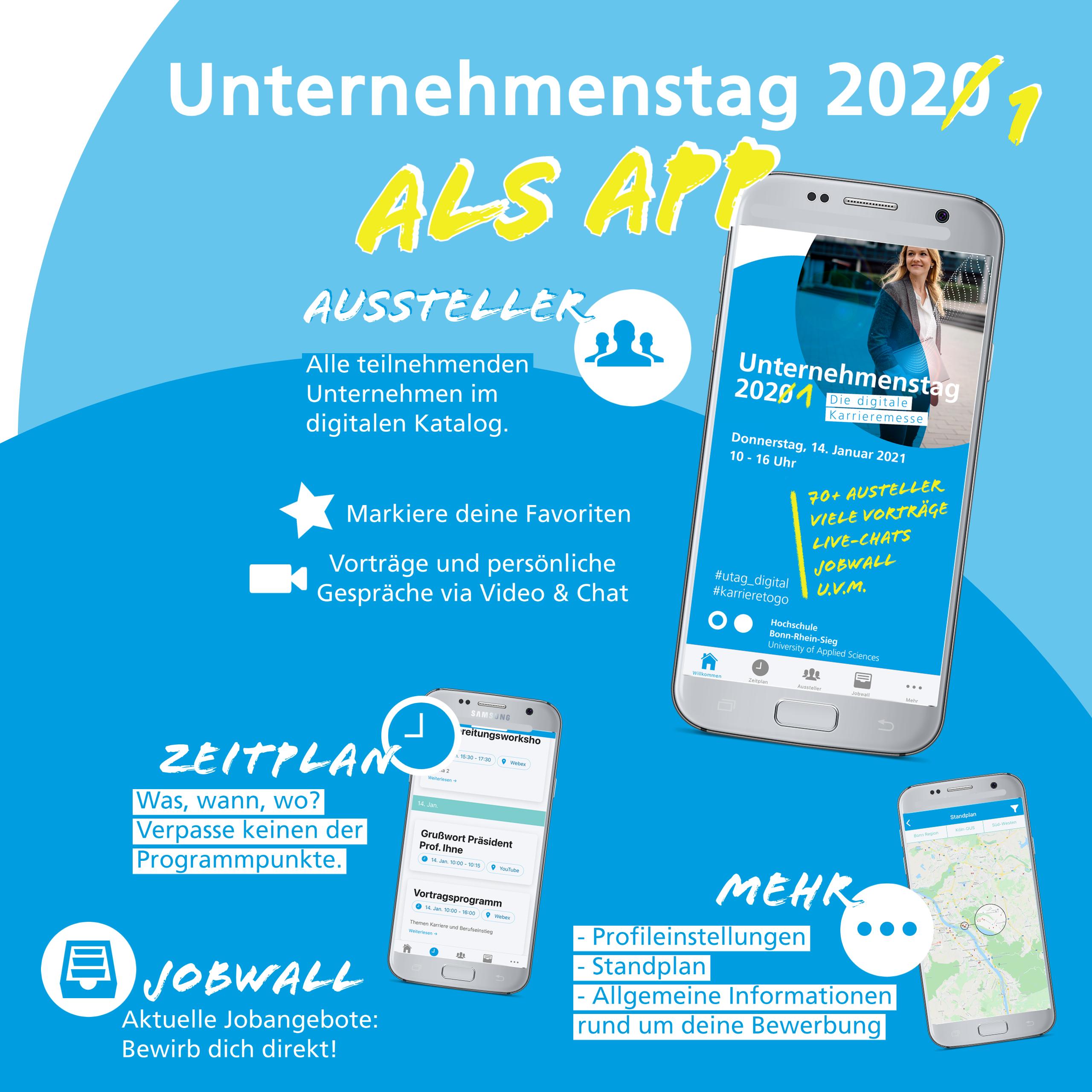 Die Unternehmenstag-App wird mit ihren verschiedenen Funktionen vorgestellt. Ein Smartphone stellt dar, wie die App auf dem Bildschrim aussieht. Die verschiedenen Reiter der App, werden mit ihren wichtigsten Funktionen aufgelistet.